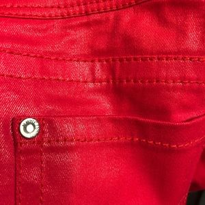 Almost Famous Pants - Almost Famous Lipstick Red coated jeans Sz 5